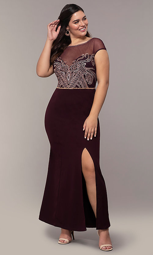 Image of accented-illusion-bodice long plus-size prom dress. Style: SOI-PM40092B51 Detail Image 3