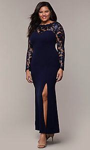 Image of long plus-size formal prom dress with lace sleeves. Style: SOI-PM40085 Front Image