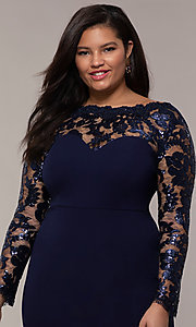 Image of long plus-size formal prom dress with lace sleeves. Style: SOI-PM40085 Detail Image 1