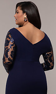 Image of long plus-size formal prom dress with lace sleeves. Style: SOI-PM40085 Detail Image 2