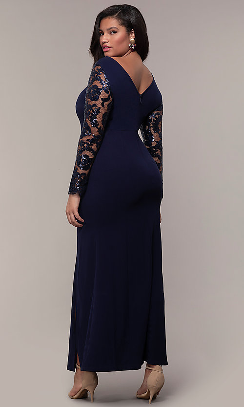 Image of long plus-size formal prom dress with lace sleeves. Style: SOI-PM40085 Back Image