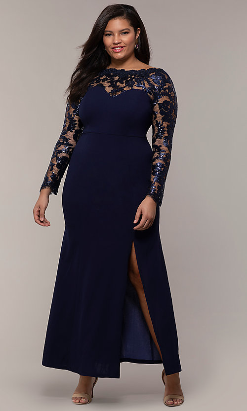 Image of long plus-size formal prom dress with lace sleeves. Style: SOI-PM40085 Detail Image 3