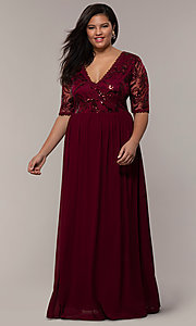 Image of long plus-size formal dress in deep berry red. Style: SOI-PM40065 Front Image