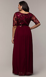 Image of long plus-size formal dress in deep berry red. Style: SOI-PM40065 Back Image