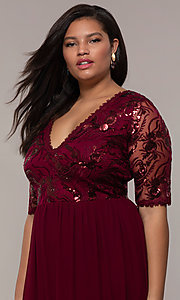 Image of long plus-size formal dress in deep berry red. Style: SOI-PM40065 Detail Image 1