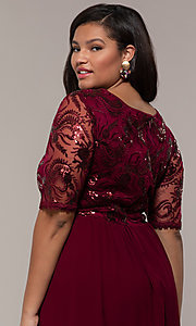 Image of long plus-size formal dress in deep berry red. Style: SOI-PM40065 Detail Image 2