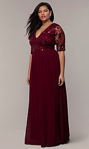 Image of long plus-size formal dress in deep berry red. Style: SOI-PM40065 Detail Image 3