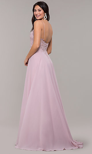 V-Neck Sleeveless Formal Gown with Spaghetti Straps