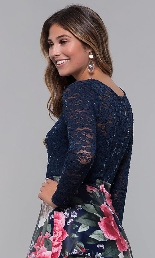 Image of short lace-bodice long-sleeve homecoming dress. Style: MCR-PL-2665 Detail Image 2