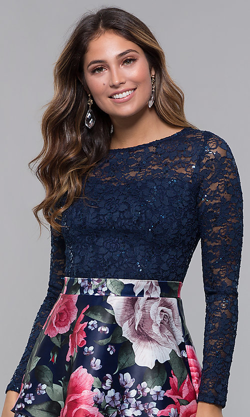 Image of short lace-bodice long-sleeve homecoming dress. Style: MCR-PL-2665 Detail Image 1