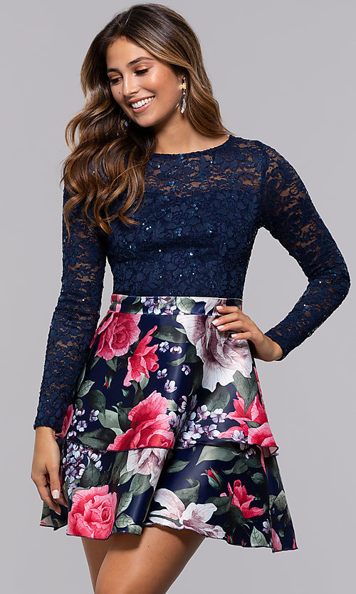 Image of short lace-bodice long-sleeve homecoming dress. Style: MCR-PL-2665 Front Image