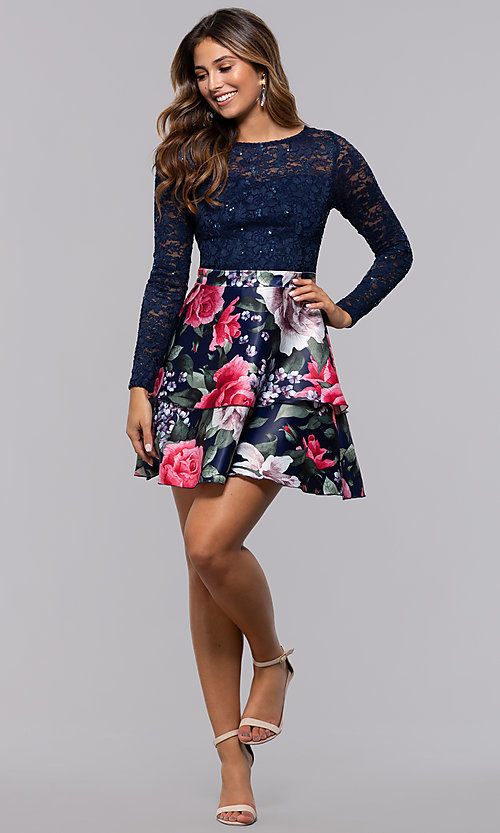 Image of short lace-bodice long-sleeve homecoming dress. Style: MCR-PL-2665 Detail Image 3