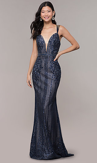 d8a4e9222c79 Long Formal V-Neck Vintage-Inspired Prom Dress