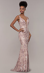 Image of sequin-embroidered long v-neck formal dress. Style: NC-2216 Front Image