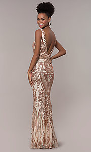 Image of long vintage-inspired sequin-mesh prom dress. Style: NC-1468 Back Image