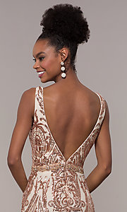 Image of long vintage-inspired sequin-mesh prom dress. Style: NC-1468 Detail Image 2