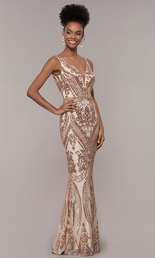 Image of long vintage-inspired sequin-mesh prom dress. Style: NC-1468 Front Image