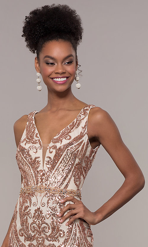 Image of long vintage-inspired sequin-mesh prom dress. Style: NC-1468 Detail Image 1