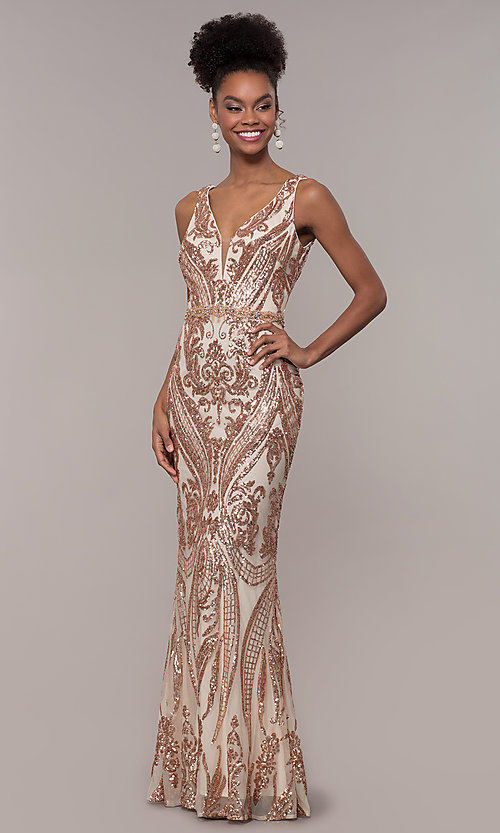 Image of long vintage-inspired sequin-mesh prom dress. Style: NC-1468 Detail Image 3