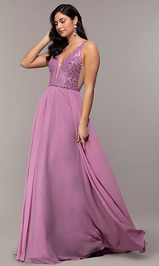 Embellished-Bodice Long Chiffon Formal Prom Dress