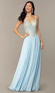 Image of a-line v-neck formal gown with embroidered bodice. Style: NC-3151 Front Image