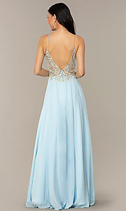 Image of a-line v-neck formal gown with embroidered bodice. Style: NC-3151 Back Image