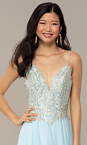 Image of a-line v-neck formal gown with embroidered bodice. Style: NC-3151 Detail Image 1