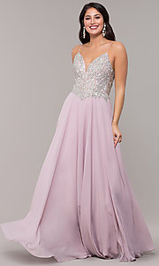 Image of a-line v-neck formal gown with embroidered bodice. Style: NC-3151 Detail Image 3