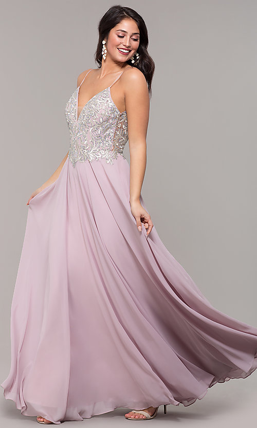 Image of a-line v-neck formal gown with embroidered bodice. Style: NC-3151 Detail Image 4