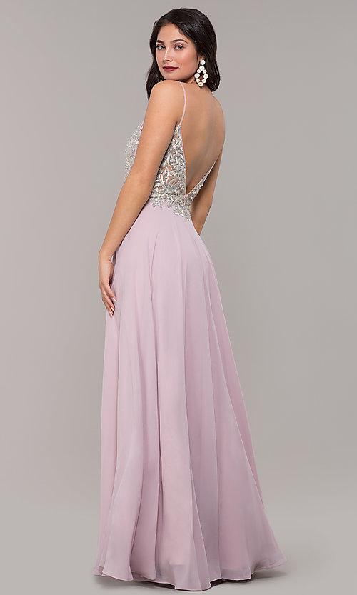 Image of a-line v-neck formal gown with embroidered bodice. Style: NC-3151 Detail Image 5