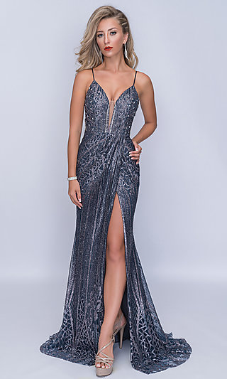 V-Neck Beaded Nina Canacci Formal Gown with a Train
