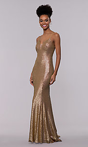Image of long trumpet formal sequin prom dress with train. Style: NC-3152 Front Image