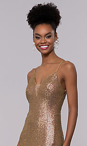 Image of long trumpet formal sequin prom dress with train. Style: NC-3152 Detail Image 1