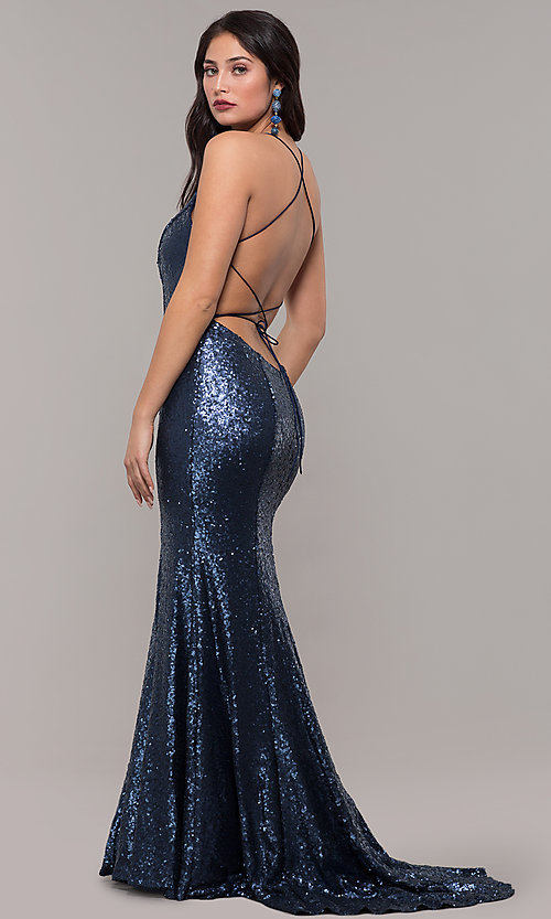 Image of long trumpet formal sequin prom dress with train. Style: NC-3152 Back Image
