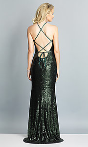 Image of long formal sequin prom dress with corset back.  Style: DJ-A7574 Detail Image 6