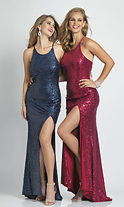 Image of long formal sequin prom dress with corset back.  Style: DJ-A7574 Detail Image 3
