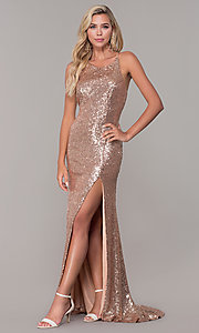 Image of long formal sequin prom dress with corset back.  Style: DJ-A7574 Back Image