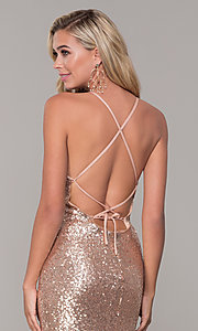 Image of long formal sequin prom dress with corset back.  Style: DJ-A7574 Detail Image 2