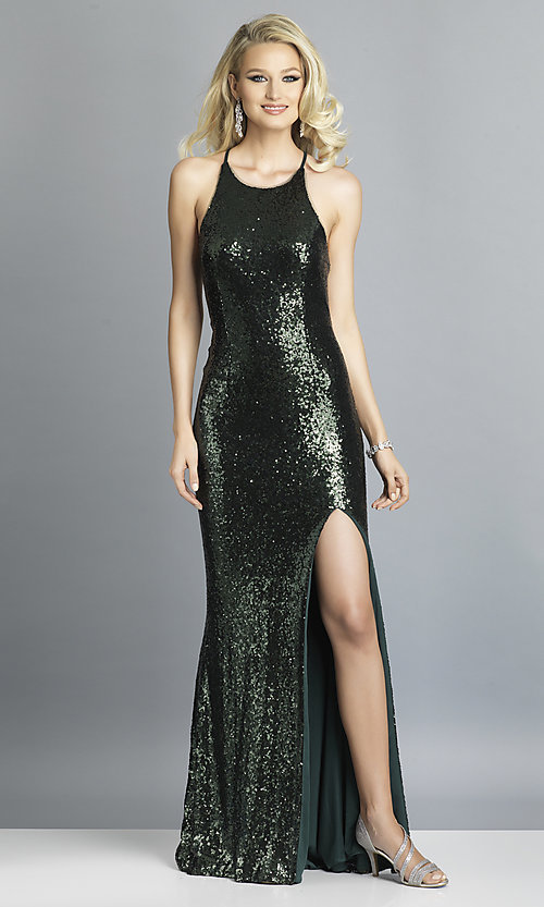 Image of long formal sequin prom dress with corset back.  Style: DJ-A7574 Front Image