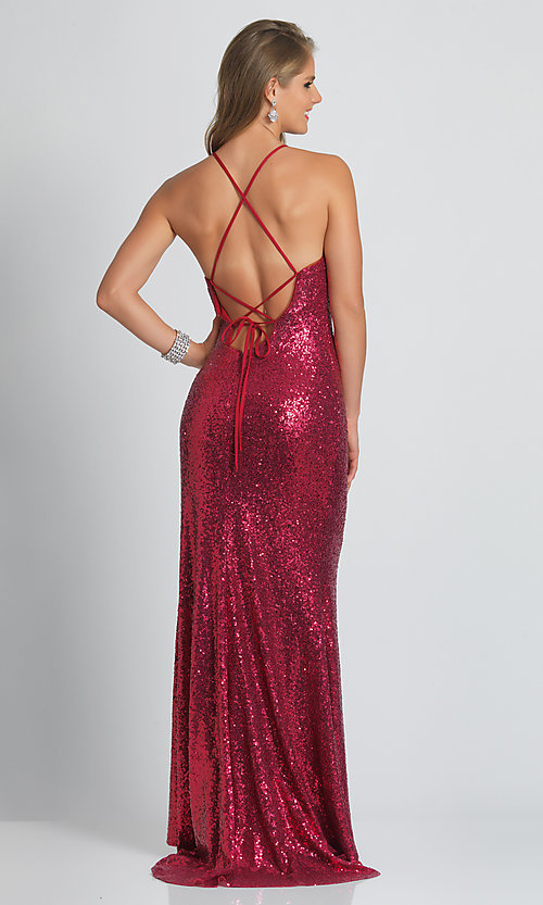 Image of long formal sequin prom dress with corset back.  Style: DJ-A7574 Detail Image 4