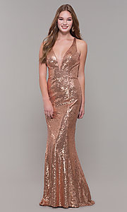 Image of long sequin formal prom dress by Dave and Johnny. Style: DJ-A7832 Front Image