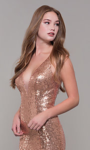 Image of long sequin formal prom dress by Dave and Johnny. Style: DJ-A7832 Detail Image 1