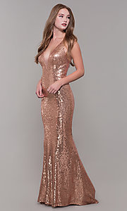 Image of long sequin formal prom dress by Dave and Johnny. Style: DJ-A7832 Detail Image 3