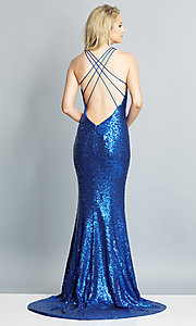 Image of long sequin formal prom dress by Dave and Johnny. Style: DJ-A7832 Detail Image 5