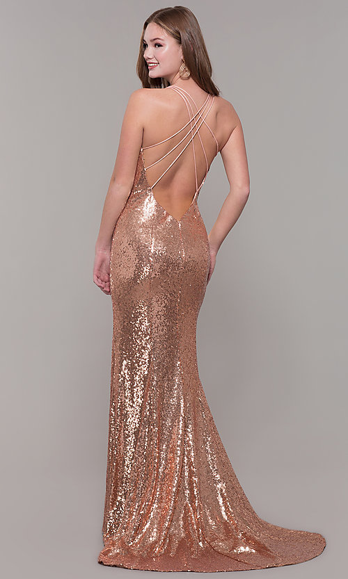 Image of long sequin formal prom dress by Dave and Johnny. Style: DJ-A7832 Back Image