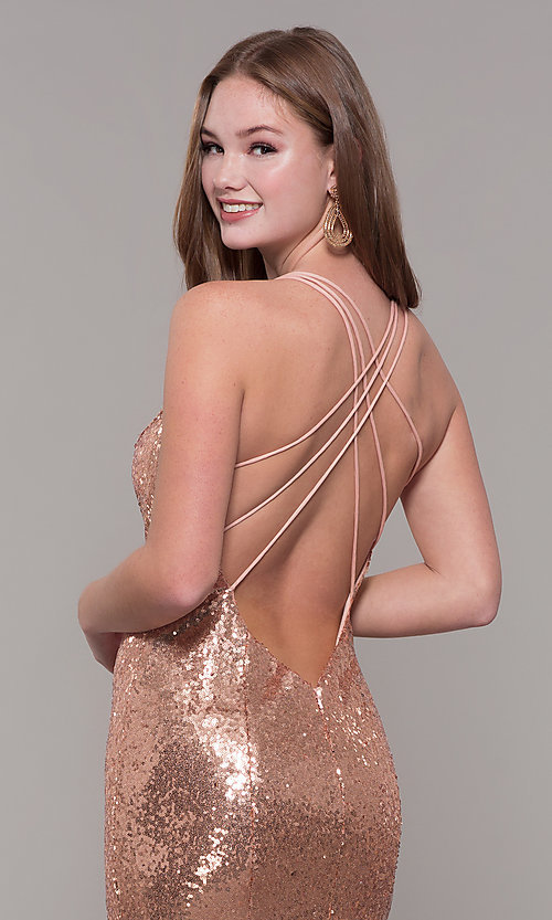 Image of long sequin formal prom dress by Dave and Johnny. Style: DJ-A7832 Detail Image 2