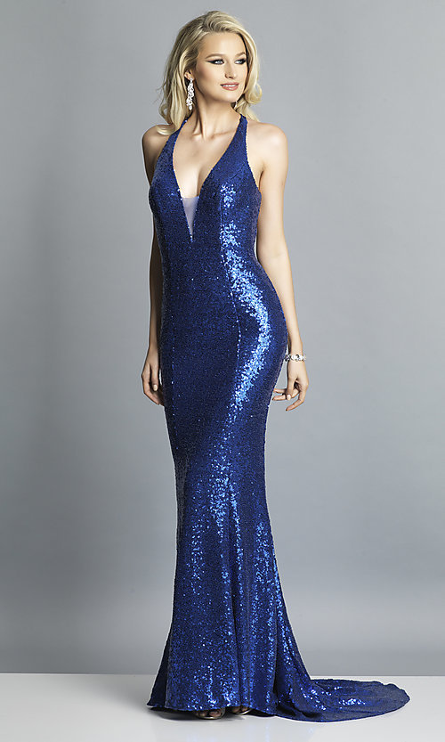 Image of long sequin formal prom dress by Dave and Johnny. Style: DJ-A7832 Detail Image 4