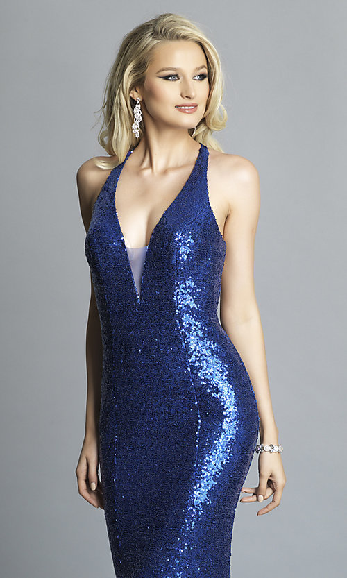 Image of long sequin formal prom dress by Dave and Johnny. Style: DJ-A7832 Detail Image 6