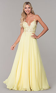 Image of Dave and Johnny long prom dress with beaded bodice. Style: DJ-A7248 Detail Image 3