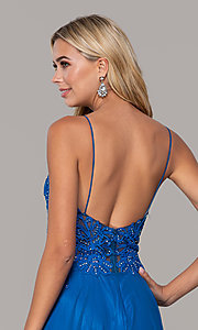Image of Dave and Johnny long prom dress with beaded bodice. Style: DJ-A7248 Detail Image 4